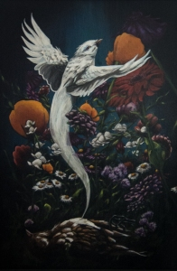 "Uprising - Bird Acrylic on wood Framed, 24"" x 18"" $600.00"