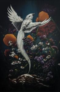 "Uprising - Bird Acrylic on wood Framed, 24"" x 18"" $600.00"
